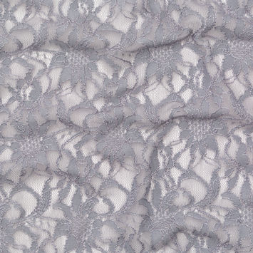 Metallic Silver and Griffin Gray Re-Embroidered Stretch Floral Lace-326264-10