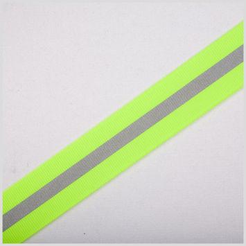 Neon Lime Reflective Grosgrain Ribbon