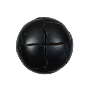 Black Leather Shank Back Button 40L/25mm-5575-10