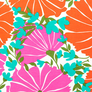 Nanette Lepore Red, Pink and Green Floral Silk and Linen Woven-FS12606-10