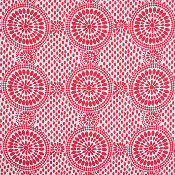 Poppy Red and Snow White Medallion Printed Cotton Sateen