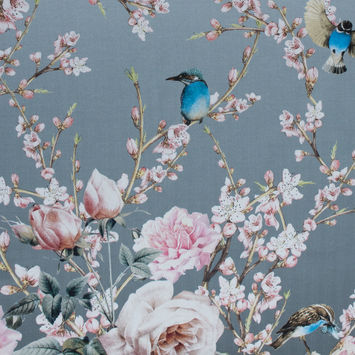 Roses, Hummingbirds and Butterflies Digitally Printed on a Lily Pad Premium Mikado/Twill
