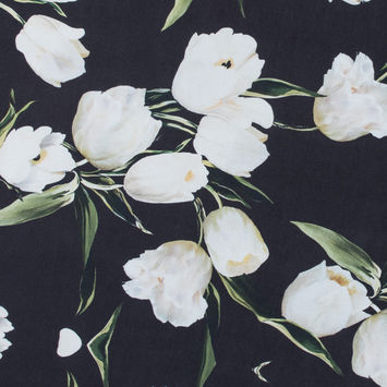 Black and Whisper White Digitally Printed Flowers on a Premium Mikado/Twill