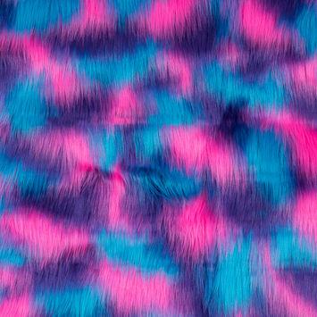 Vibrant Blue, Pink and Purple Faux Fur