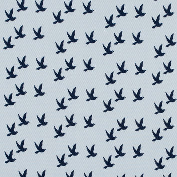White and Navy Bird Printed Cotton Dobby Jacquard