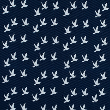 Navy and White Bird Printed Cotton Dobby Jacquard