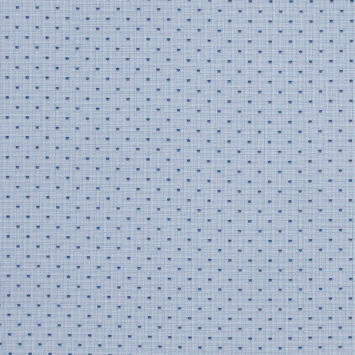 Blue and White Tattersall Checkered Shirting with Shield Polka Dots