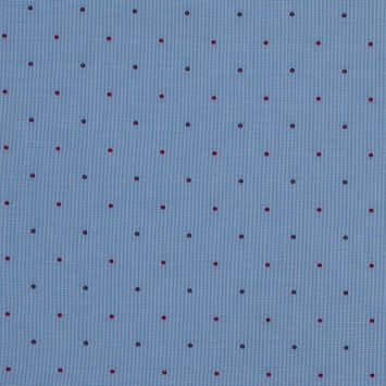 Red and Blue Polka Dotted Houndstooth Cotton Shirting