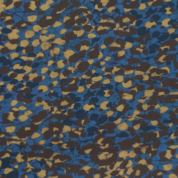 European Blue and Brown Abstract Camouflage Cotton Poplin