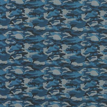 European Blue and Gray Camouflage Cotton Poplin
