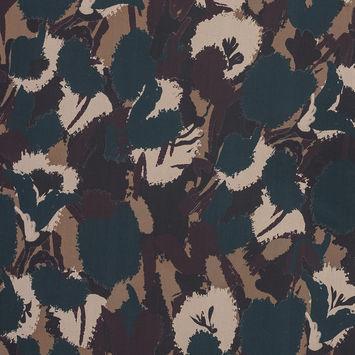 European Maroon, Teal and Beige Camouflage Cotton Poplin