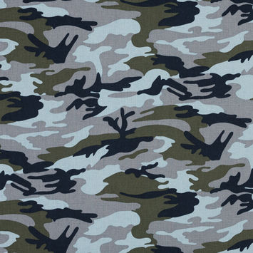 Navy, Gray and Olive Camouflage Stretch Cotton Poplin