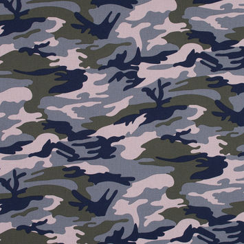 Navy, Pink and Olive Camouflage Stretch Cotton Poplin