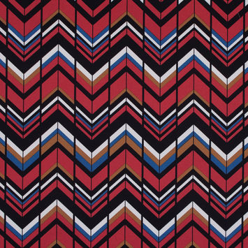Red, Brown and Blue Chevron Stretch Cotton Sateen