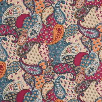 Ocean Blue, Orange and Magenta Paisley Stretch Cotton Sateen