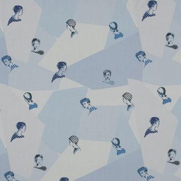 Mood Exclusive Les Femmes en Pois Blue Cotton Poplin
