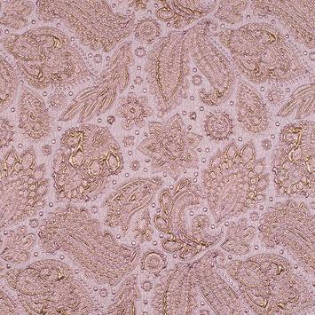 Pink and Gold Luxury Paisley Metallic Brocade