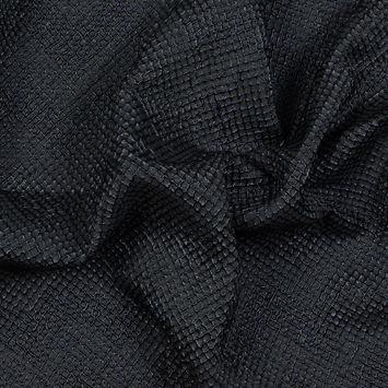 Metallic Black and Navy Diamond Quilted Brocade