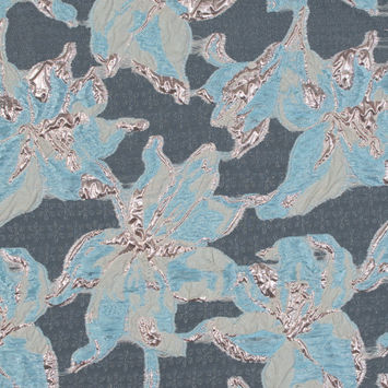 Aqua and Metallic Rose Gold Luxury Floral Burnout Brocade