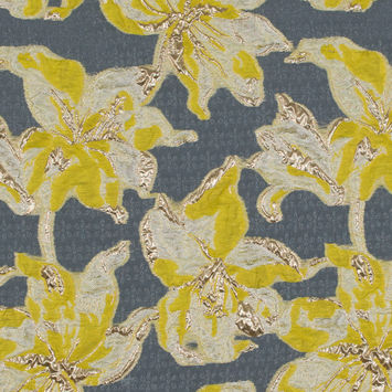 Yellow and Metallic Gold Luxury Floral Burnout Brocade