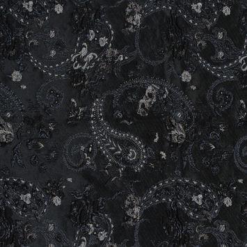 Black and Silver Luxury Paisley Metallic Brocade