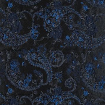 Blue and Black Luxury Paisley Metallic Brocade