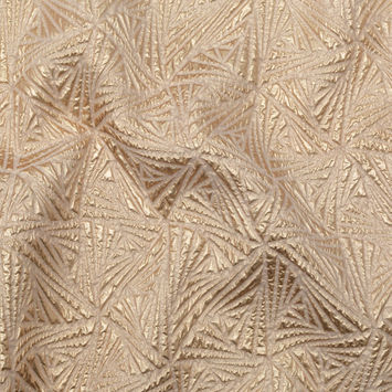 Luminous Gold Geometric Double-Layer Creped Organza Brocade