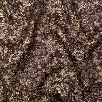 Aubergine and Gold Luxury Metallic Brocade
