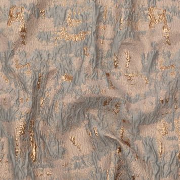 Sky Gray and Gold Abstract Luxury Metallic Brocade