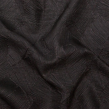 Luminous Black Double-Layer Organza Brocade
