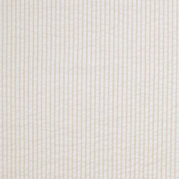 White and Caramel Striped Cotton Seersucker