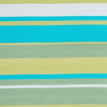 Green and Aqua Striped Shantung/Dupioni