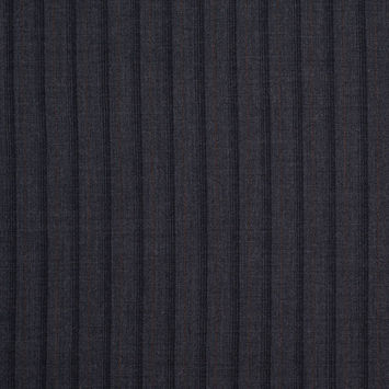 Gray and Black Striped Wool Flannel Suiting
