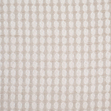 Bright White and Birch Checkered Cotton-Acrylic Boucle