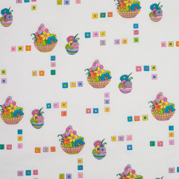 Mulitcolor Flower Basket Cotton Baby Print