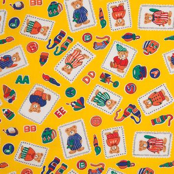 Lemon Chrome Bear Postcard and Alphabet Cotton Print