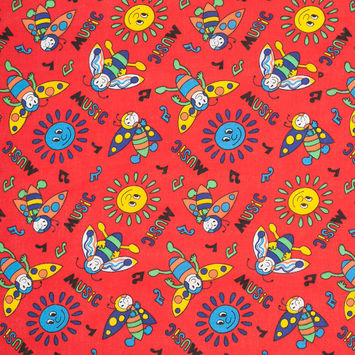 Tomato Red Music, Bee, and Sun Cotton Print
