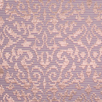 Metallic Copper and Lilac Polyester Brocade