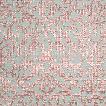 Metallic Copper and Sea Blue Polyester Brocade