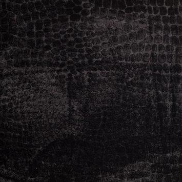 Black Alligator Embossed Silk-Viscose Velvet