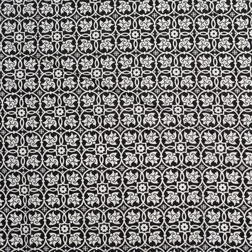 Black/White Floral Stretch Cotton Poplin