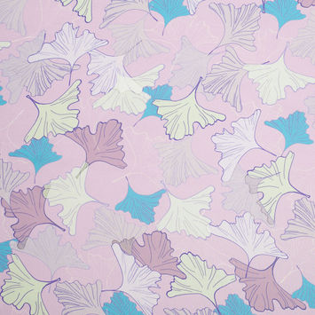 Light Lilac Leafy Digitally Printed Polyester Charmeuse