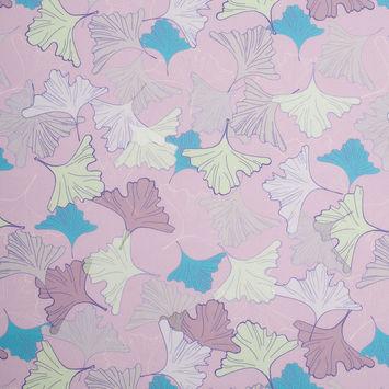 Light Lilac Leafy Digitally Printed Stretch Neoprene/Scuba Knit