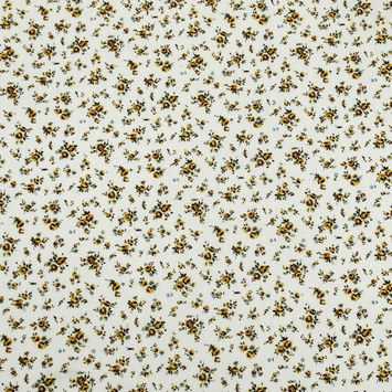 Yellow/White Floral Herringbone Combed Cotton Dobby Jacquard