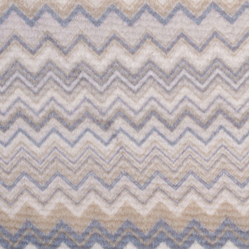 Italian Cream/Slate/Olive Zig Zag Blended Wool Fleece Panel