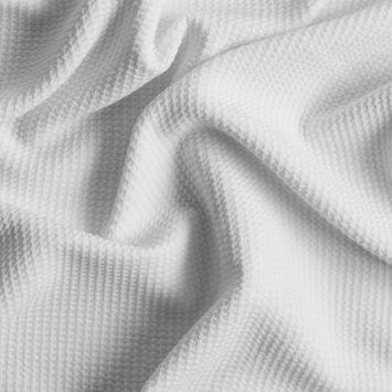Ecru Stretch Polyester Knit Pique