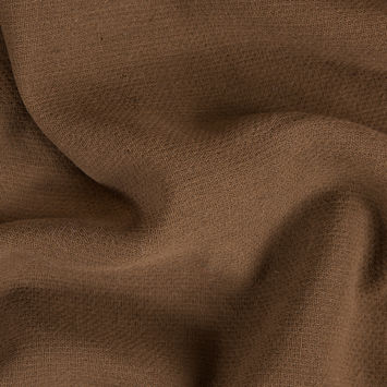 Coffee Brown Creped Wool Double Cloth