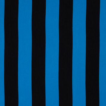 Blue/Black Awning Striped Printed Polyester Woven