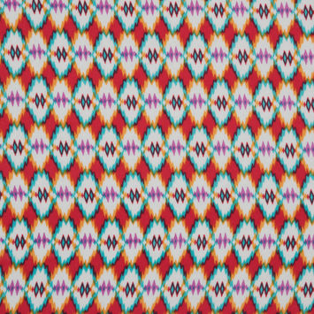 Red/Blue/Orange Navajo Tribal Printed Polyester Woven