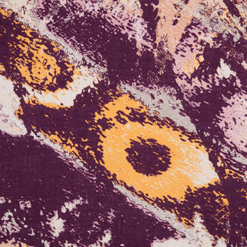 Italian Purple/Yellow Abstract Splatter Printed Cotton Batiste